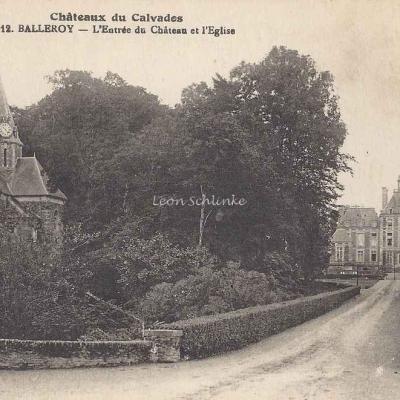 14-Balleroy - L'entrée du Château et l'Eglise (A.Dubosq 12)