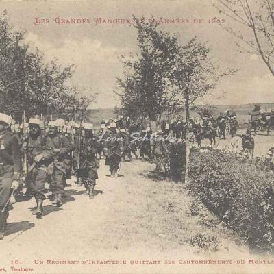 16 - Un régiment d'Infanterie quittant ses cantonnements à Montlaur