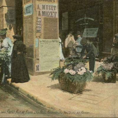 1659 - Paris - Rue de Rivoli - Les Petits Revendeurs de Fleurs au Panier