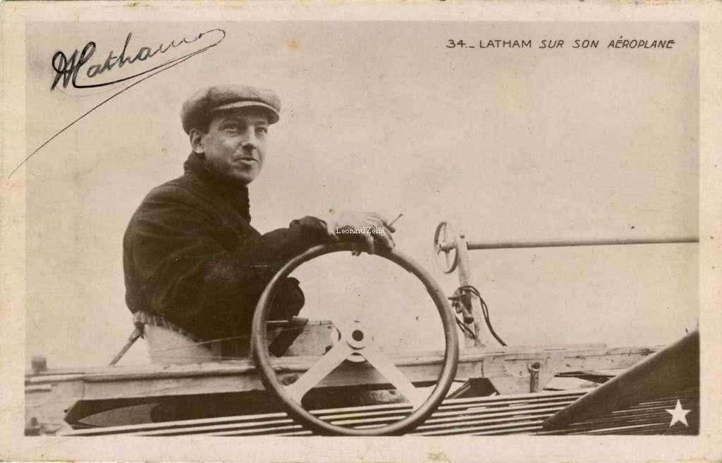 34 - Latham sur son Aéroplane