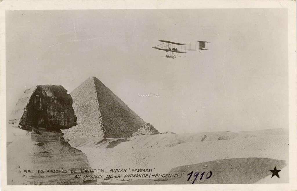 59 - Les Progrès de l'Aviation - Biplan Farman au dessus de la Pyramide (Héliopolis)