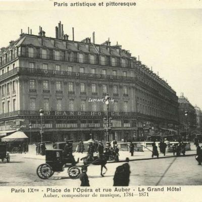 Bréger A. -  Paris IX° - Place de l'Opéra et rue Auber - Le Grand Hôtel