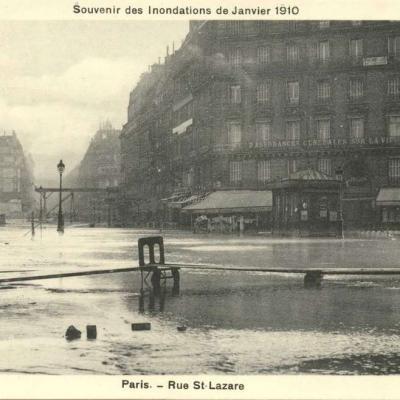 A.Bréger - Souvenir des Inondations de Janvier 1910 - Paris - Rue St-Lazare