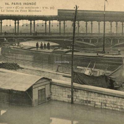 A.Noyer 94 - PARIS INONDE - La Seine au Pont Mirabeau