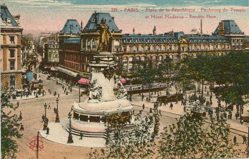 Abeille 229 - PARIS - Place de la République - Faubourg du Temple