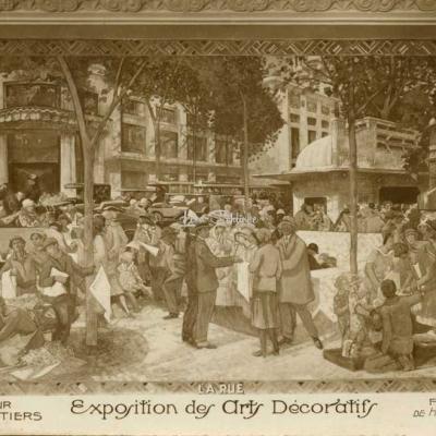 AN 113 - Expo Arts Déco 1925, Cour des Métiers, fresque ''LA RUE''