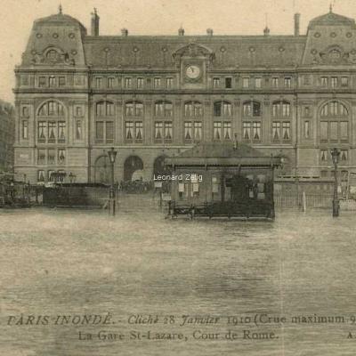 AN 24 - Crue de 1910 - La Gare St-Lazare et Cour de Rome