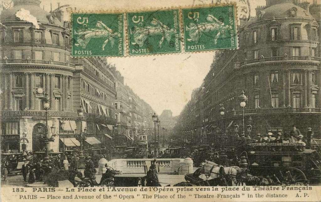 AP 183 - La Place et l'Avenue de l'Opéra vers le Théâtre Français