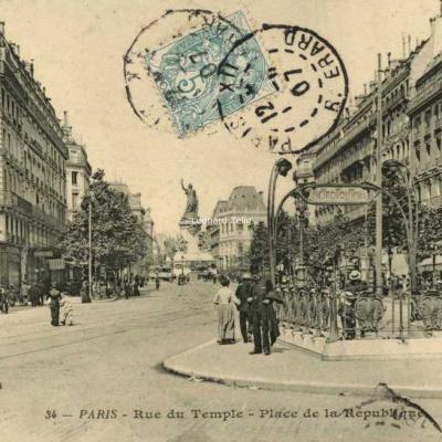 BF 34 - PARIS - Rue du Temple - Place de la République