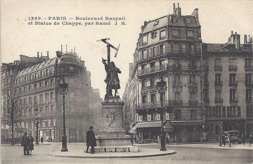 JH 1369 - Boulevard Raspail et Statue de Chappe par Ramé