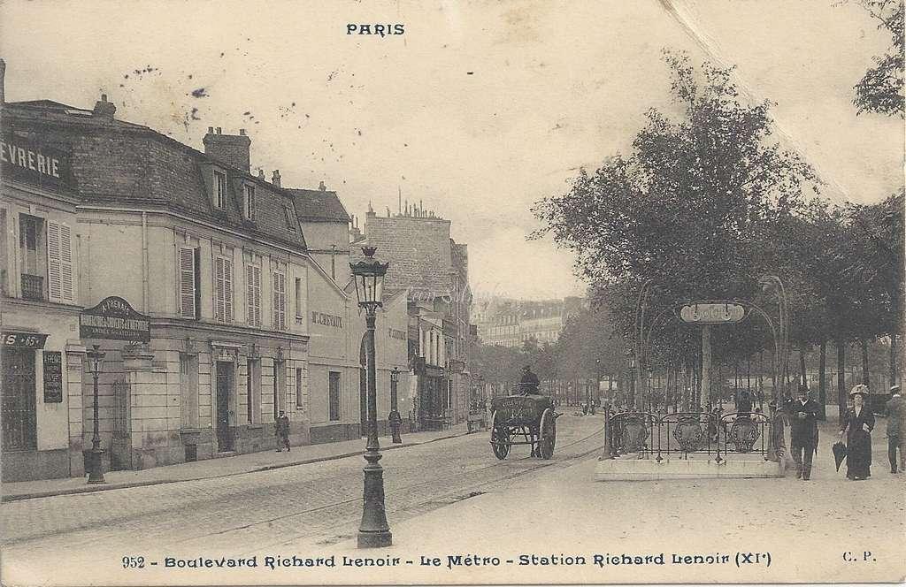 CP 952 - PARIS - Boulevard Richard-Lenoir - Le Metro - Station Richard-Lenoir