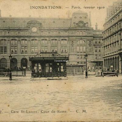 CM 112 - Inondations Paris 1910 - Gare St-Lazare, Cour de Rome