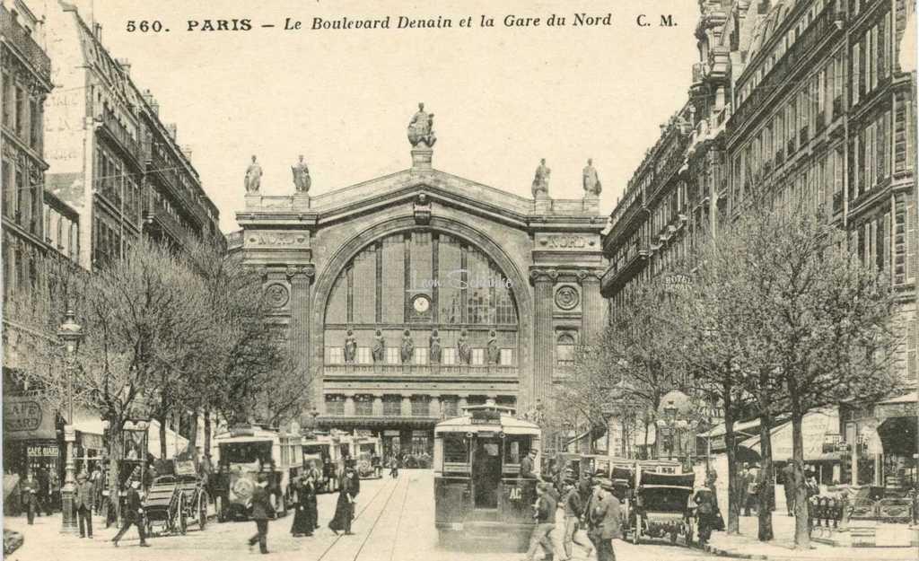 CM 560 - PARIS - Le Boulevard Denain et la Gare du Nord