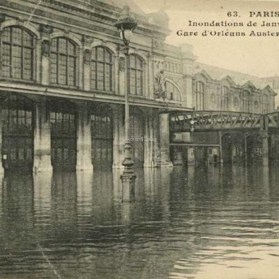 CM 63 - PARIS - Inondations de Janvier 1910 - Gare d'Orléans Austerlitz