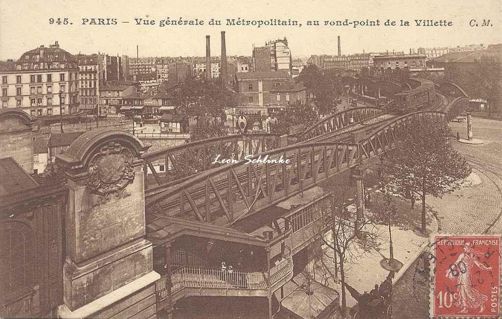 CM 945 - Vue générale du Métro au Rd-point de la Villette