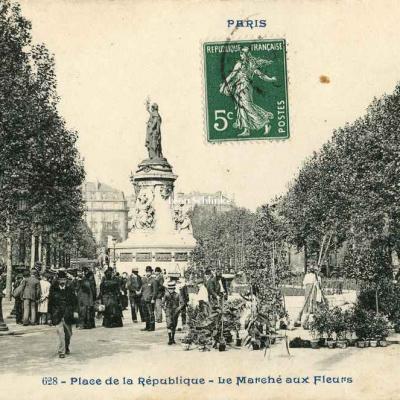 CP 628 - Place de la République - Marché aux Fleurs