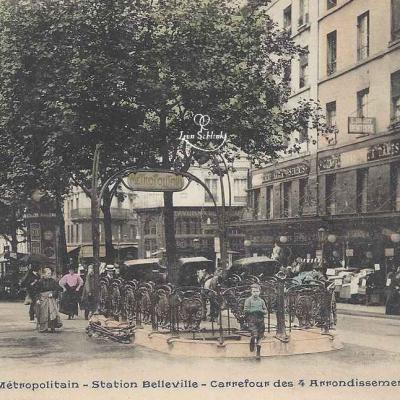 CP 884 - Le Métropolitain  - Station Belleville Carrefour 4 Arrts