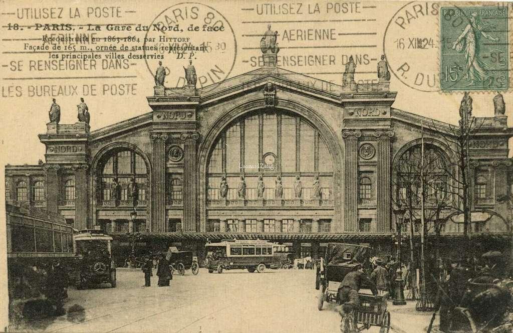 DP 18 - PARIS - La Gare du Nord, de face