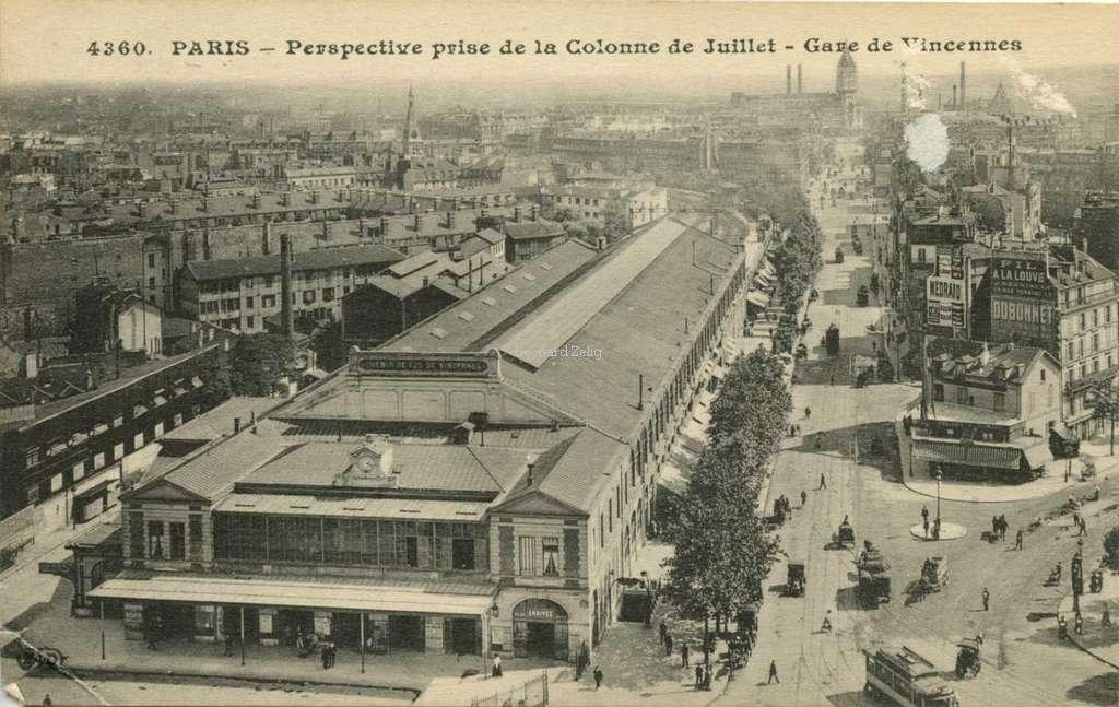 ELD 4360 - PARIS - Perspective prise de la Colonne de Juillet - Gare de Vincennes