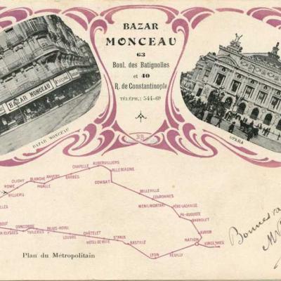 EPI - Plan du Métropolitain - Bazar Monceau