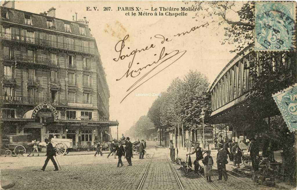 EV 207 - PARIS X° - Le Théâtre Molière et le Métro à la Chapelle