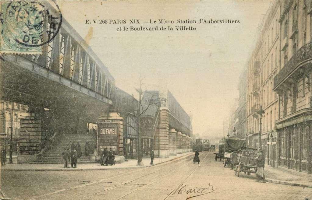 EV 268 - PARIS - Le Métro Station d'Aubervilliers et le Boulevard de la Villette