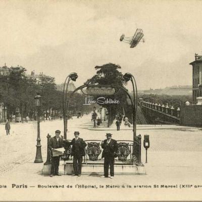FF 1136 bis - Paris - Bd de l'Hôpital, le Métro à la station St-Marcel
