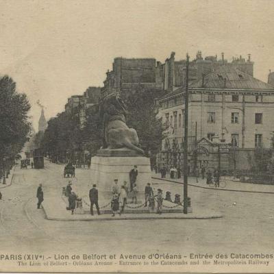 FF 1416M PARIS (XIV°) -  Lion de Belfort et Avenue d Orleans - Entree Catacombes et Metro