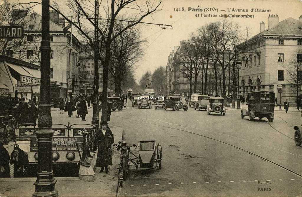 FF 1418 - Paris (XIV°) - L'Avenue d'Orléans et l'entrée des Catacombes