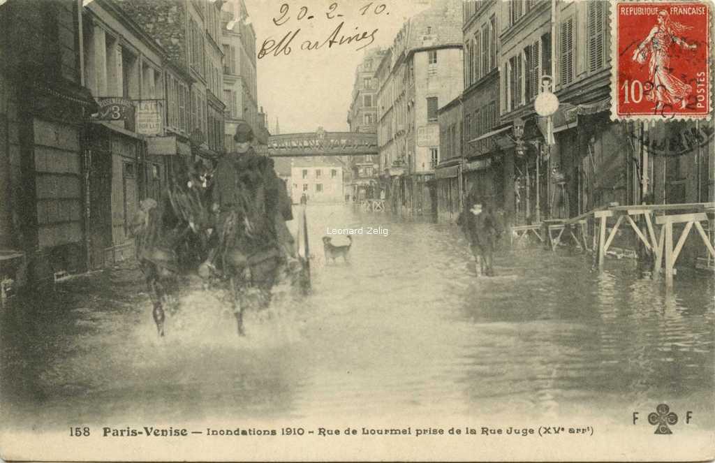 FF 158 - Paris-Venise - Inondations 1910 rue de Lourmel prise de la rue Juge