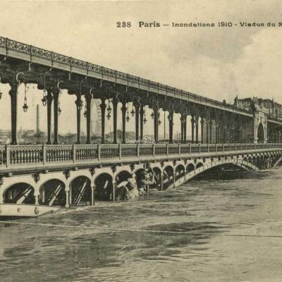 FF 238 - Paris - Inondations 1910 - Viaduc du Métro à Passy