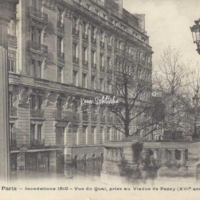 FF 239 - Inondations 1910 - Vue du Quai au Viaduc de Passy