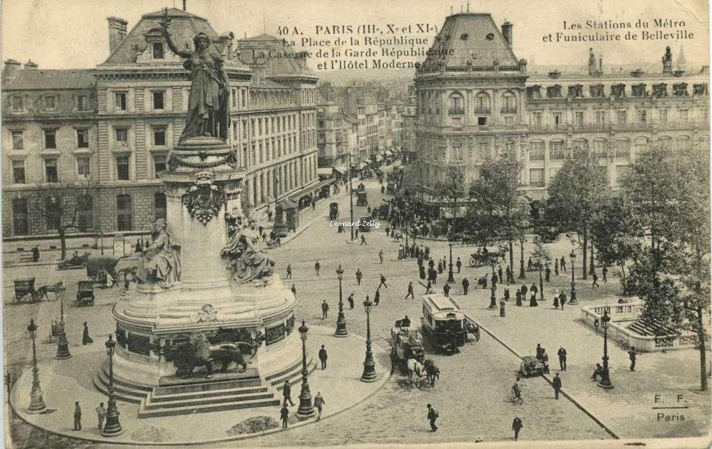 FF 40 A - PARIS - La Place de la République - Stations Métro et Funiculaire de Belleville