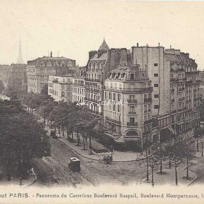 FF 610 - Panorama du Carrefour Bd Raspail, Bd Montparnasse, la Rotonde