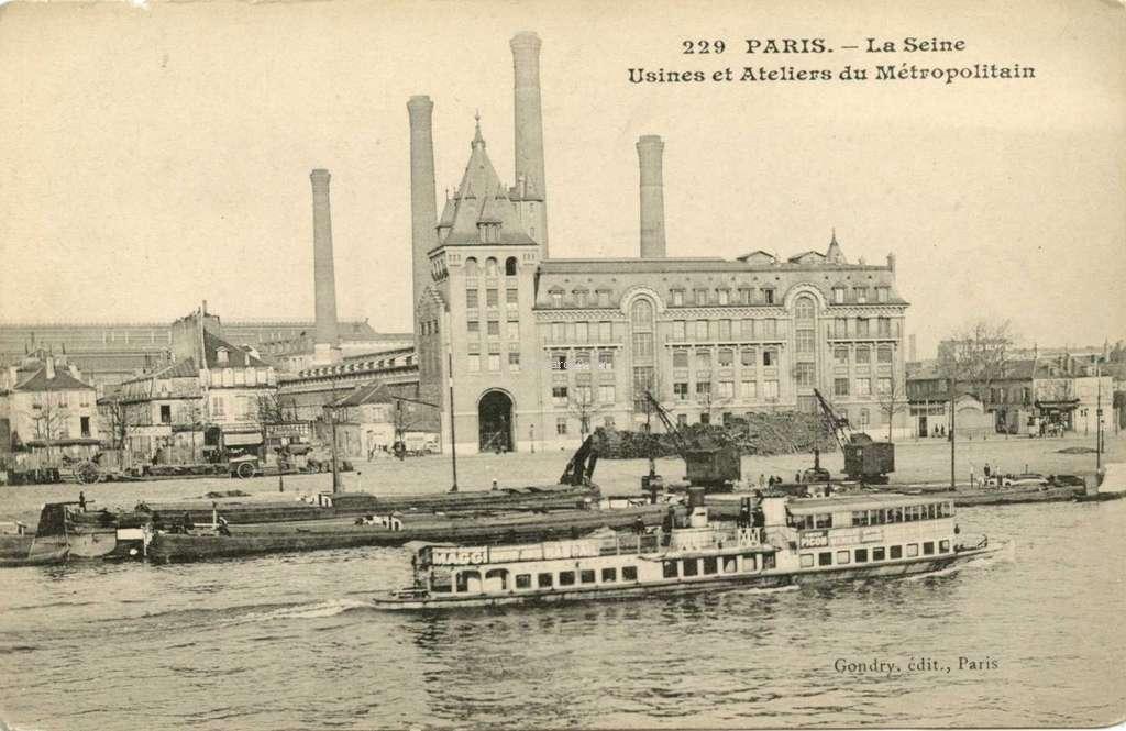 Gondry 229 - PARIS - La Seine · Usines et Ateliers du Métropolitain