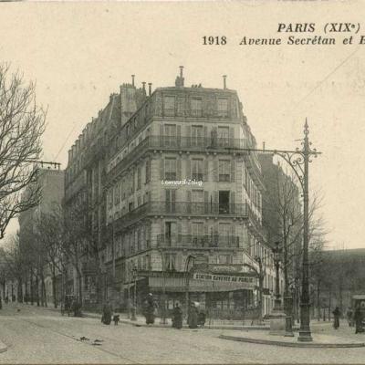 Inconnu 1918 - PARIS (XIX°) - Avenue Secrétan et Bolivar