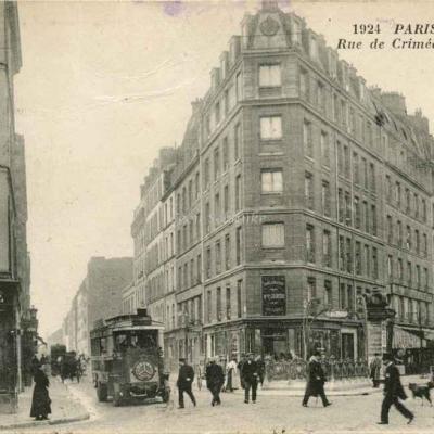 Inconnu 1924 - Rue de Crimée et rue Mathis