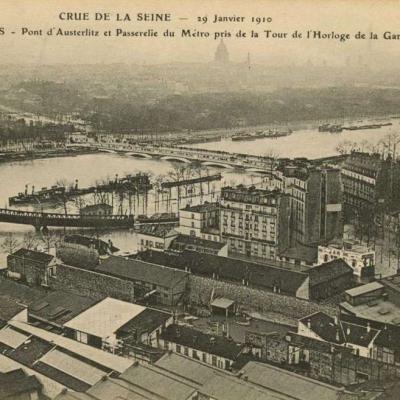 Inconnu 262 - PARIS - Inondations 1910 au Pont d'Austerlitz vues de la Gare de Lyon