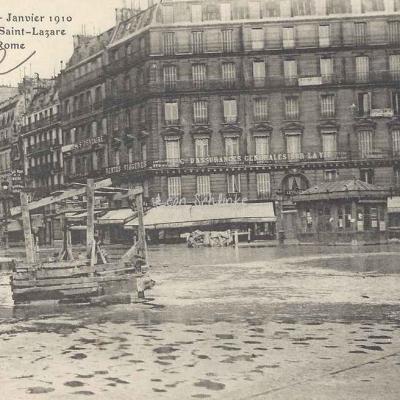 Inconnu - Crue de la Seine - Gare St-Lazare et Place de Rome