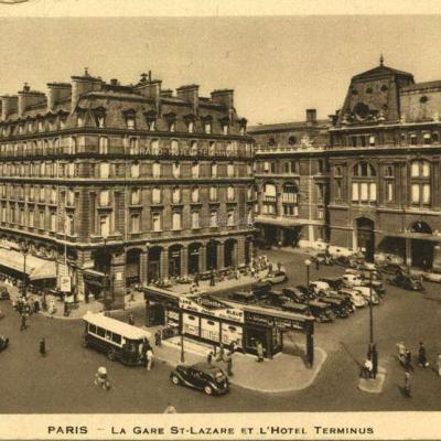 Inconnu - PARIS - La Gare St-Lazare et l'Hôtel Terminus