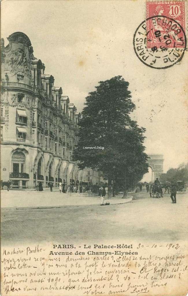 Inconnu - PARIS - Le Palace-Hôtel, Avenue des Champs-Elysées