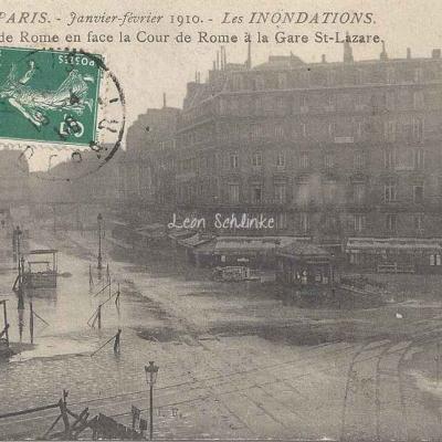 J.F. 10 - Les Inondations, rue et Cour de Rome  à St-Lazare