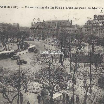 JH 1308 - Panorama de la Place d'Italie vers la mairie du 13° Arrt.