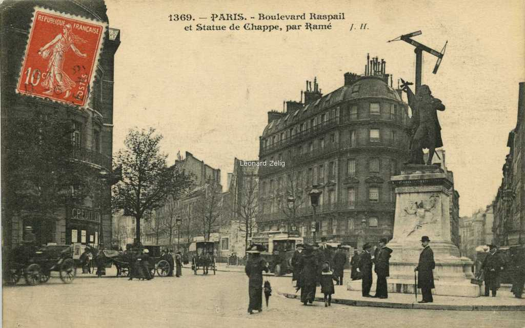 JH 1369 - PARIS - Boulevard Raspail et Statue de Chappe, par Ramé