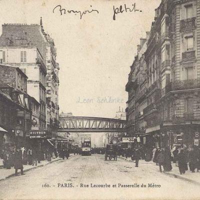 L.F.& V. 160 - PARIS - Rue Lecourbe et Passerelle du Métro