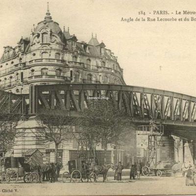 L.F.& V. 184 - PARIS - Le Métropolitain - Angle de la Rue Lecourbe et du Bd Pasteur