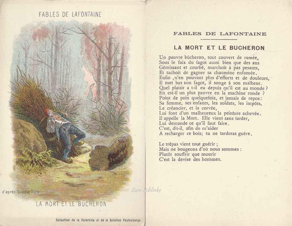 La mort et le bûcheron - fable de Jean de La Fontaine illustrée par ...