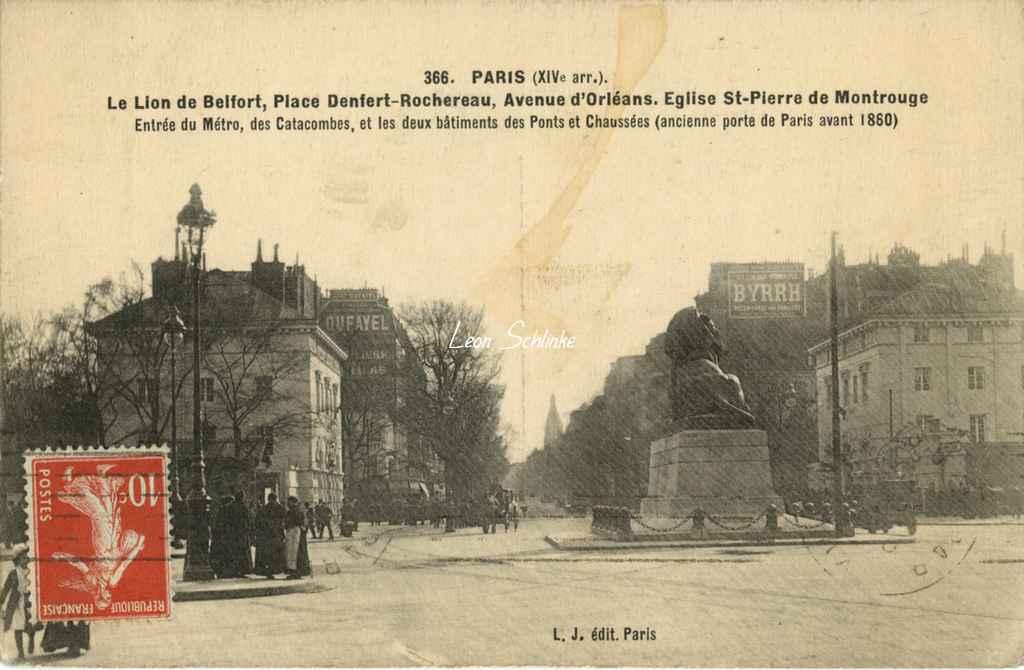 LJ 366 - Le Lion de Belfort, entrée du Métro et des Catacombes