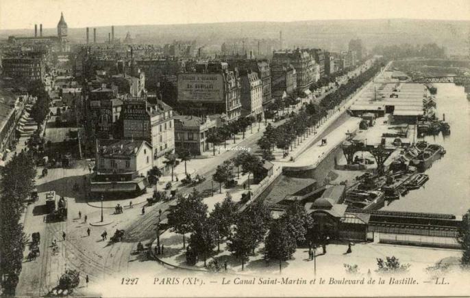 LL 1227 - PARIS - Le Canal Saint-Martin et le Boulevard de la Bastille