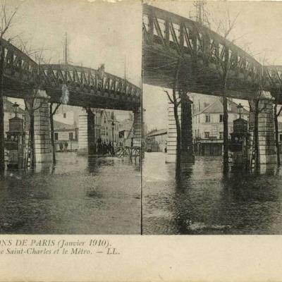 LL 14 - INONDATIONS DE PARIS (Janvier 1910) - Rue Saint-Charles et la Métro